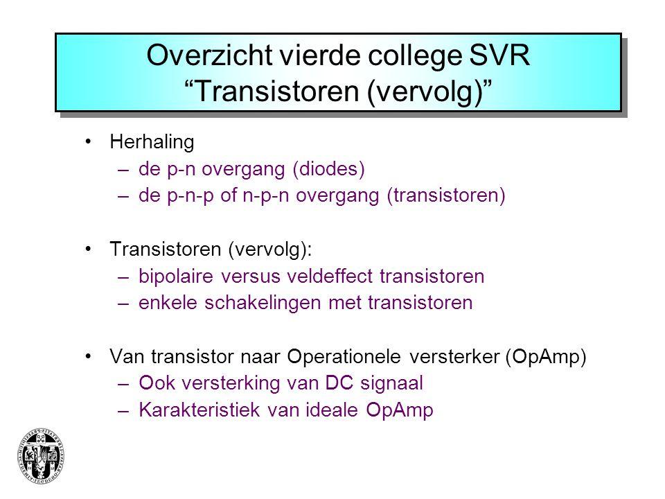Overzicht vierde college SVR Transistoren (vervolg)