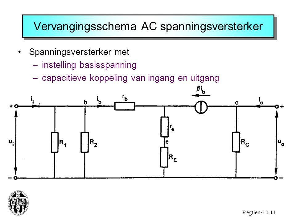 Vervangingsschema AC spanningsversterker