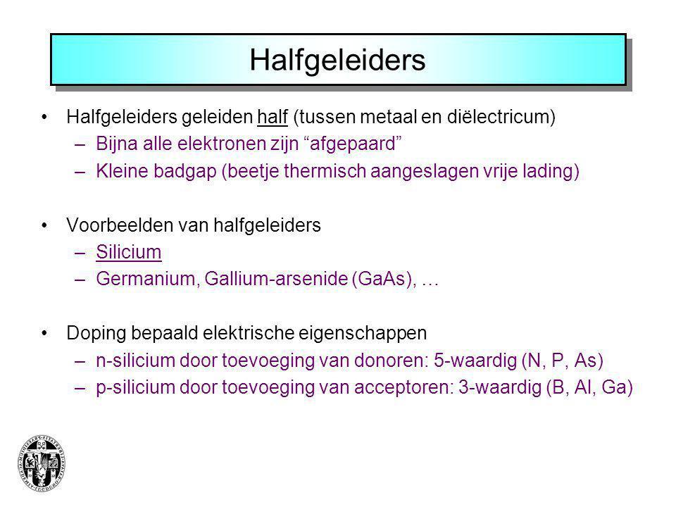 Halfgeleiders Halfgeleiders geleiden half (tussen metaal en diëlectricum) Bijna alle elektronen zijn afgepaard