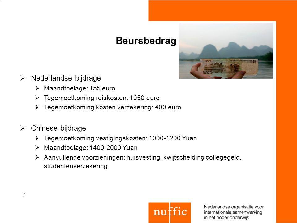 Beursbedrag Nederlandse bijdrage Chinese bijdrage