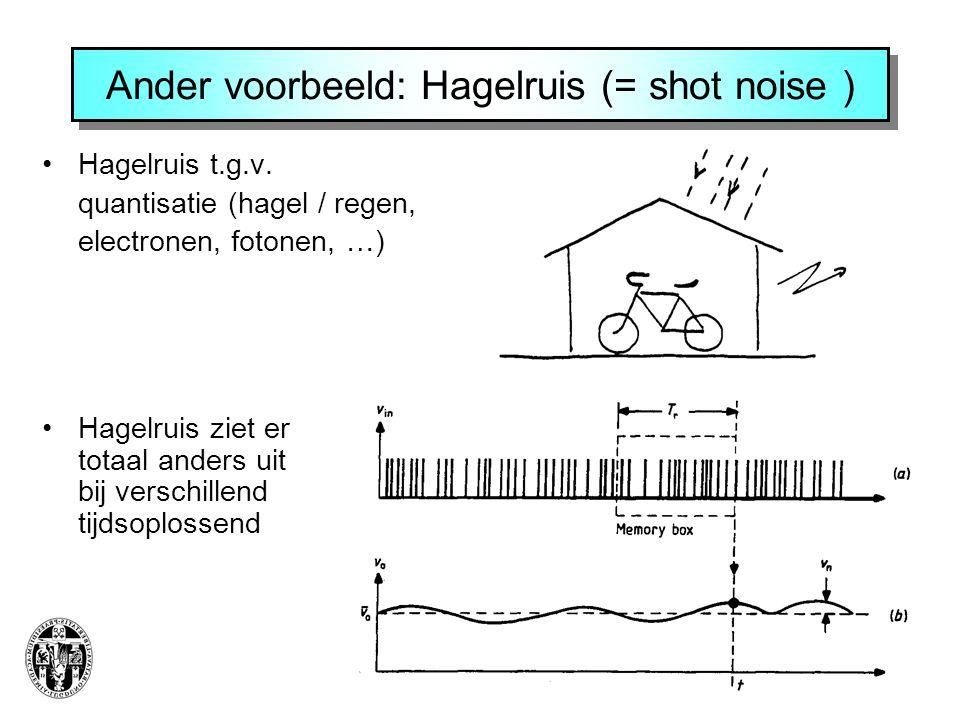Ander voorbeeld: Hagelruis (= shot noise )