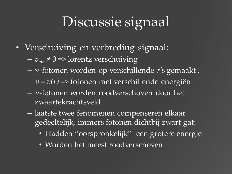 Discussie signaal Verschuiving en verbreding signaal: