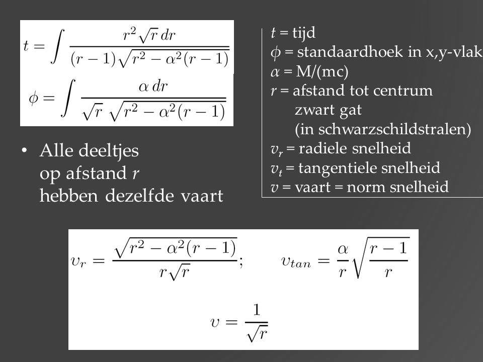 Alle deeltjes op afstand r hebben dezelfde vaart t = tijd