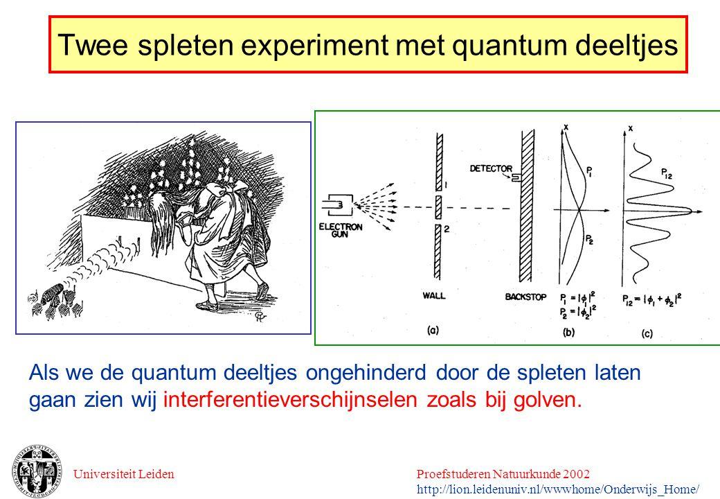Twee spleten experiment met quantum deeltjes