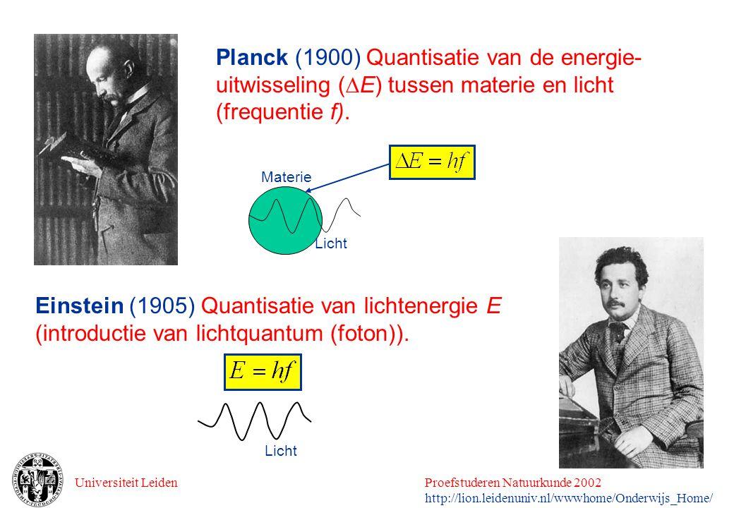 Planck (1900) Quantisatie van de energie-uitwisseling (E) tussen materie en licht (frequentie f).