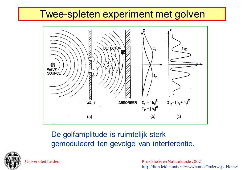 Twee-spleten experiment met golven