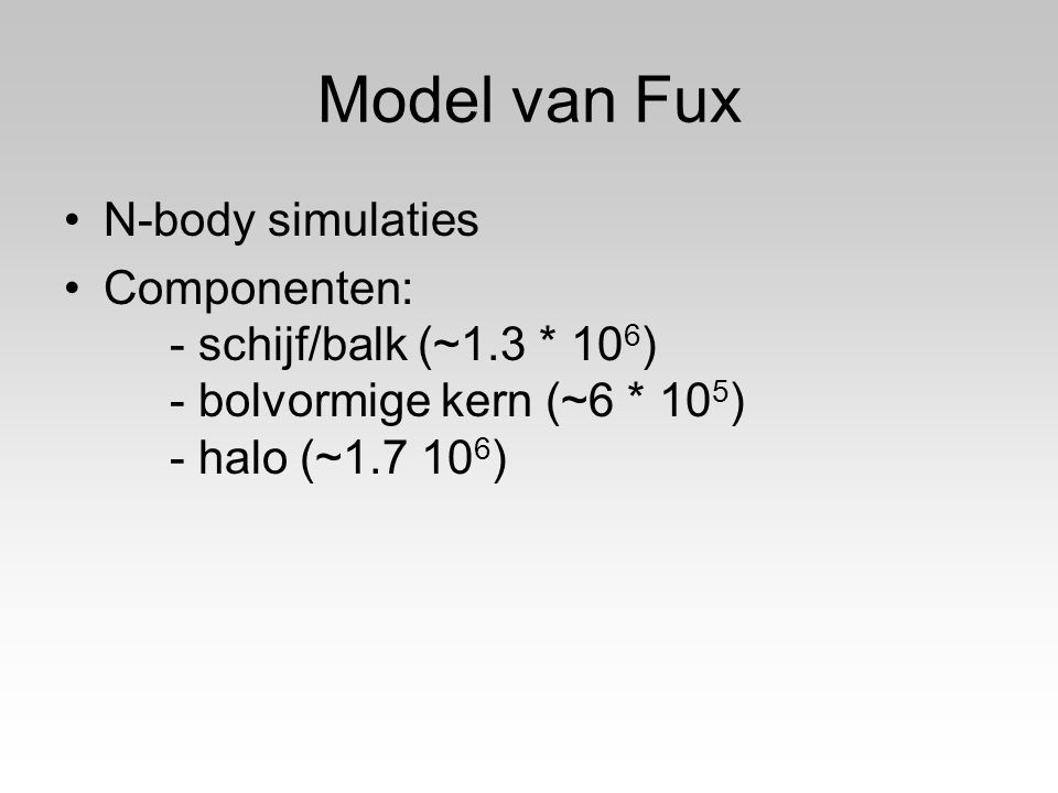 Model van Fux N-body simulaties