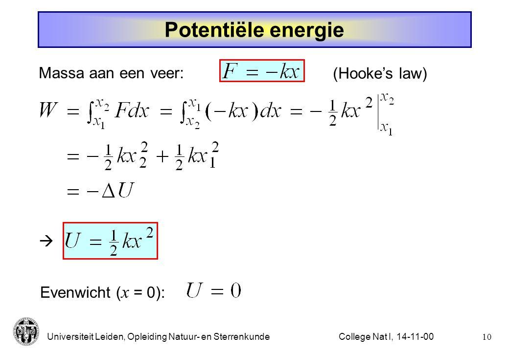 Potentiële energie Massa aan een veer: (Hooke's law) 