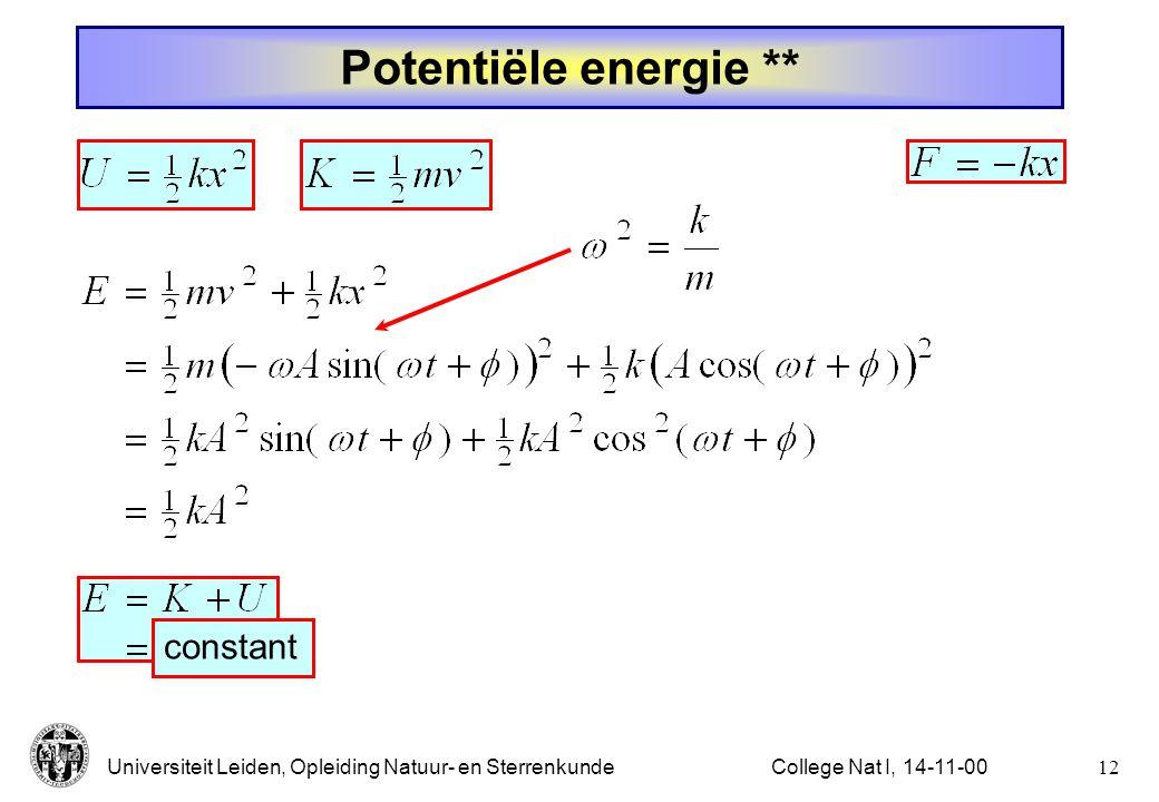 Potentiële energie ** constant College Nat I, 14-11-00