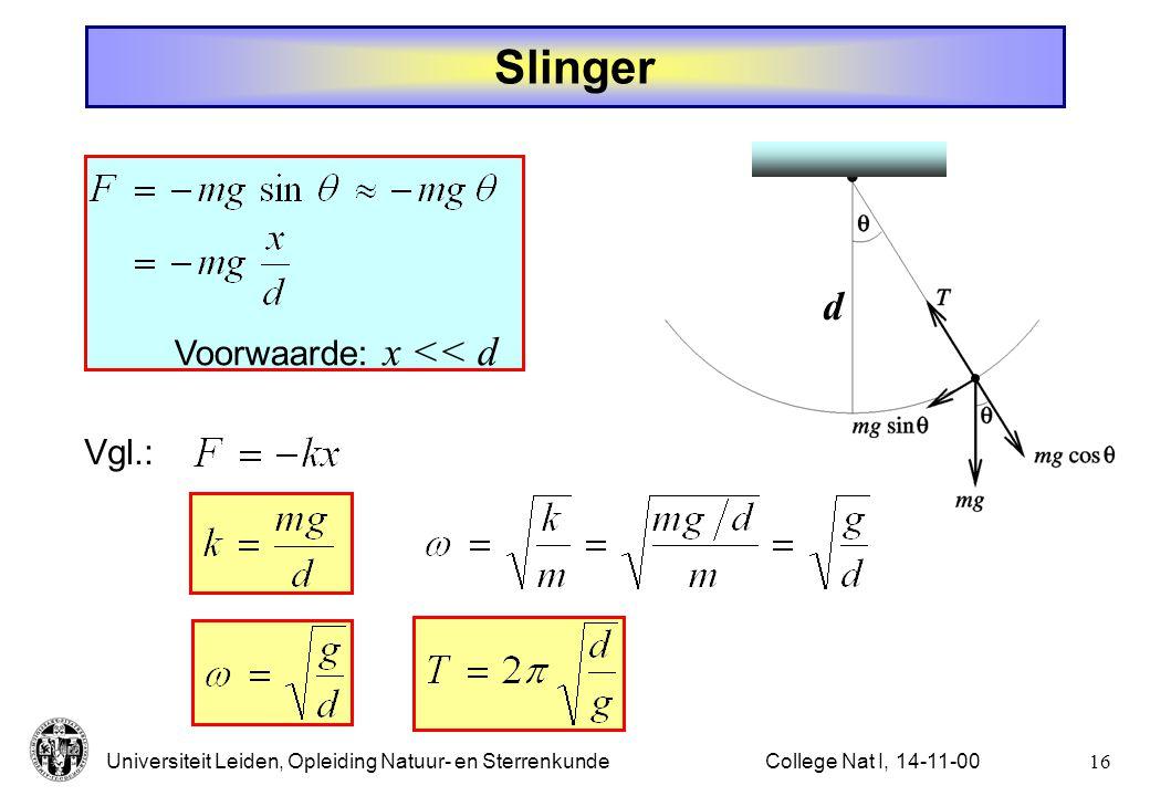 Slinger d Voorwaarde: x << d Vgl.: College Nat I, 14-11-00