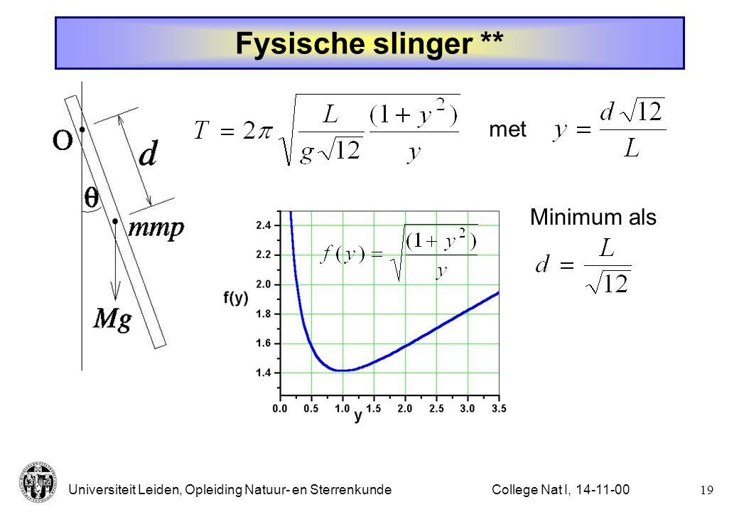 Fysische slinger ** met Minimum als College Nat I, 14-11-00
