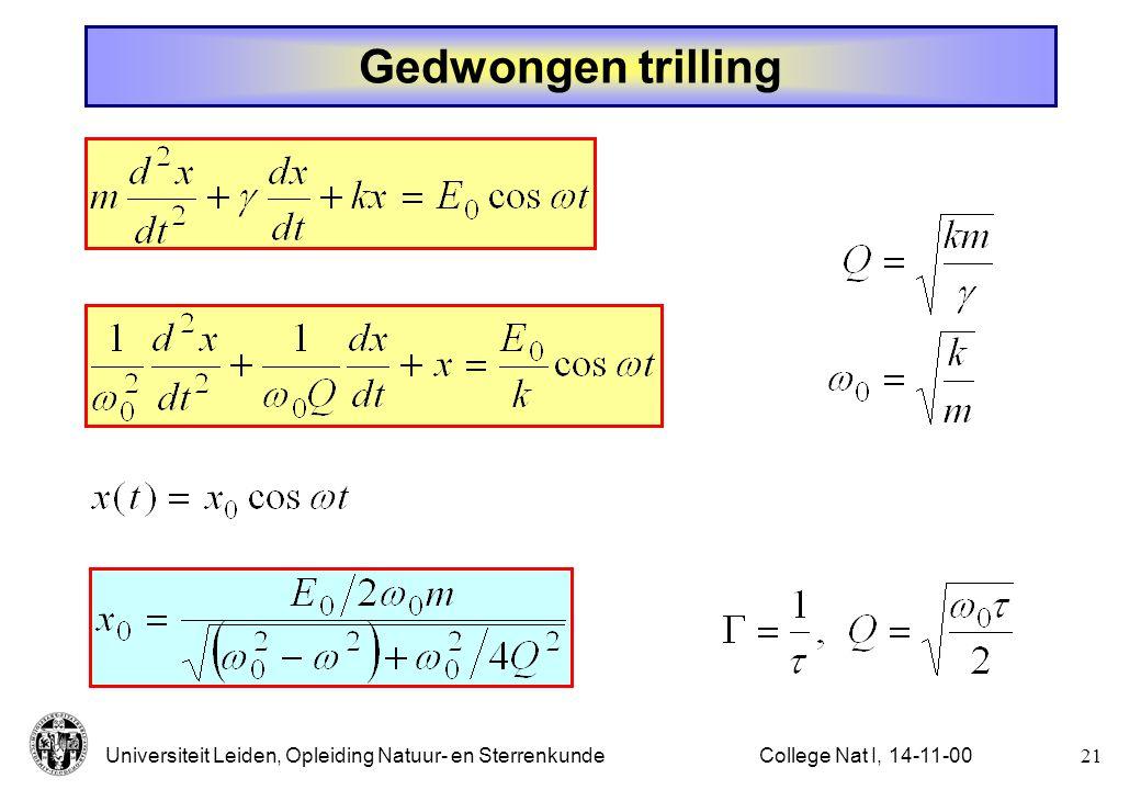 Gedwongen trilling College Nat I, 14-11-00