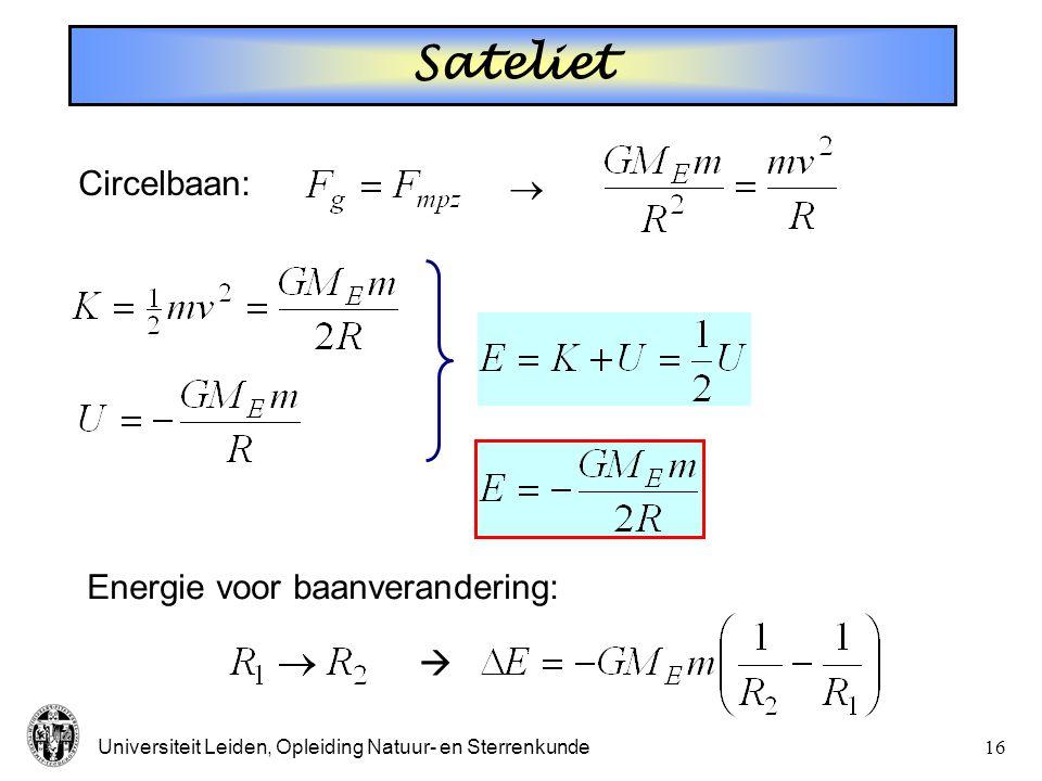 Sateliet  Circelbaan:  Energie voor baanverandering: