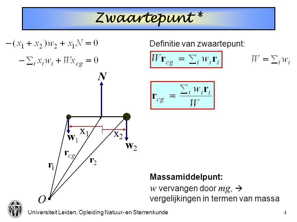 Zwaartepunt * N x1 x2 w1 w2 O w vervangen door mg, 