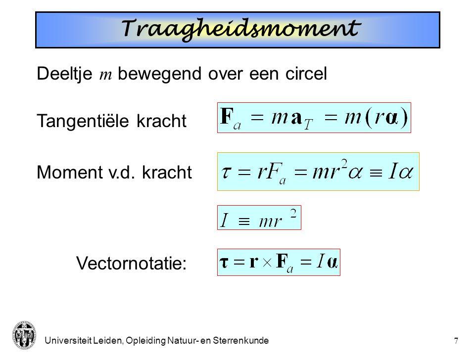 Traagheidsmoment Deeltje m bewegend over een circel Tangentiële kracht