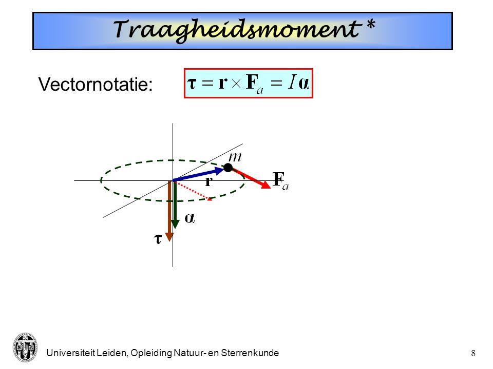 Traagheidsmoment * Vectornotatie: