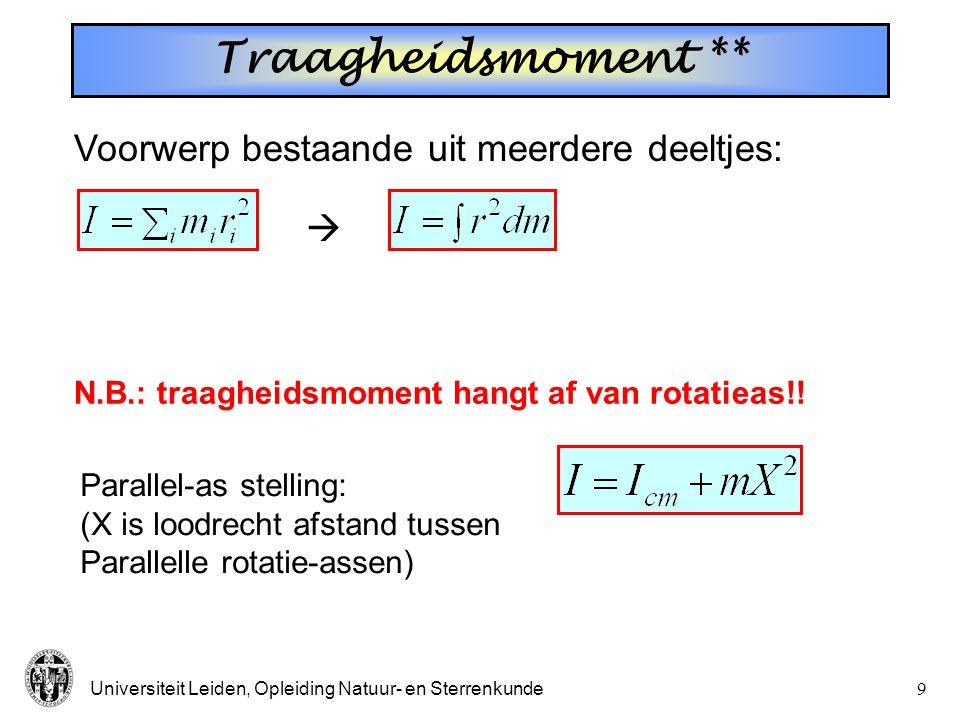 Traagheidsmoment ** Voorwerp bestaande uit meerdere deeltjes: 