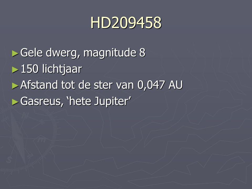 HD209458 Gele dwerg, magnitude 8 150 lichtjaar