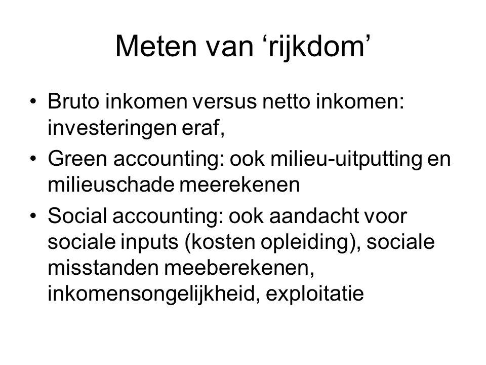 Meten van 'rijkdom' Bruto inkomen versus netto inkomen: investeringen eraf, Green accounting: ook milieu-uitputting en milieuschade meerekenen.