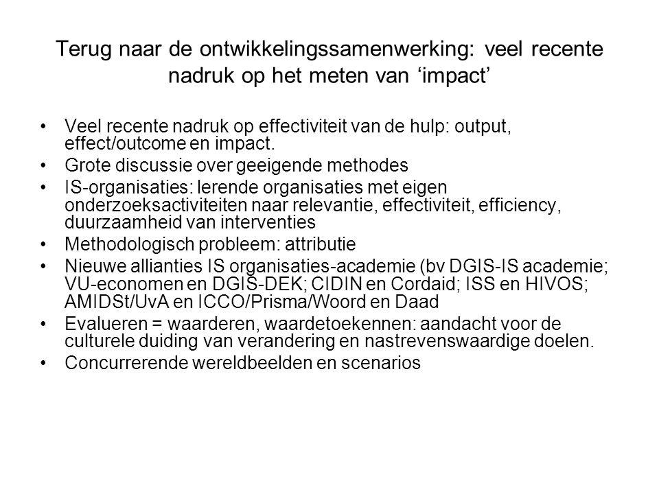 Terug naar de ontwikkelingssamenwerking: veel recente nadruk op het meten van 'impact'
