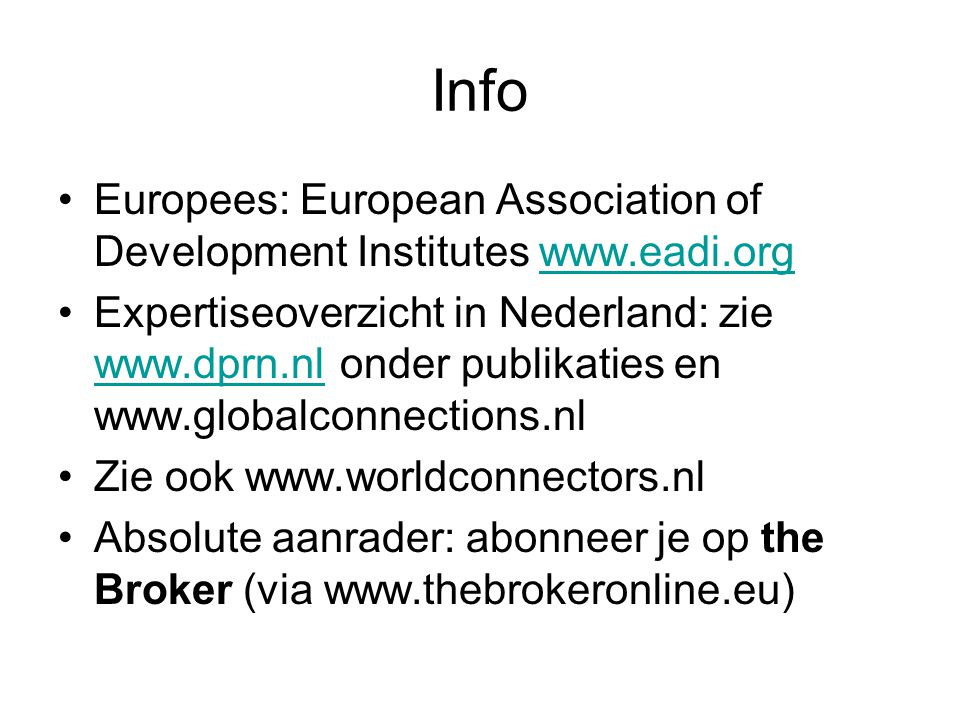 Info Europees: European Association of Development Institutes www.eadi.org.