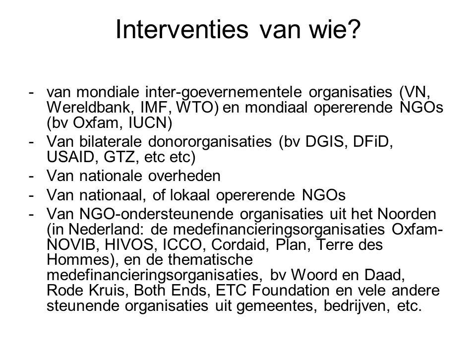 Interventies van wie van mondiale inter-goevernementele organisaties (VN, Wereldbank, IMF, WTO) en mondiaal opererende NGOs (bv Oxfam, IUCN)