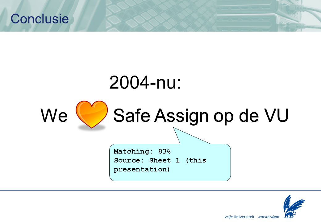 2004-nu: Safe Assign op de VU We Conclusie Matching: 83%