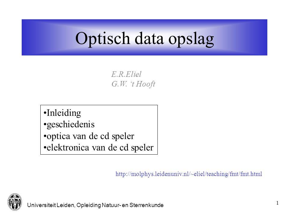 Optisch data opslag Inleiding geschiedenis optica van de cd speler