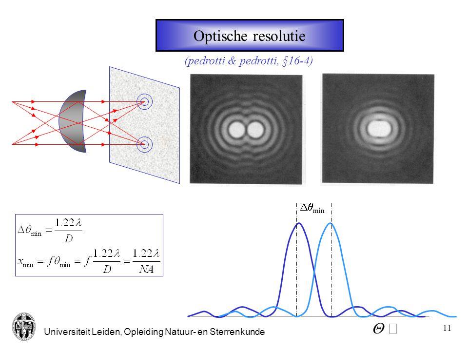 Optische resolutie (pedrotti & pedrotti, §16-4) Dqmin Q 