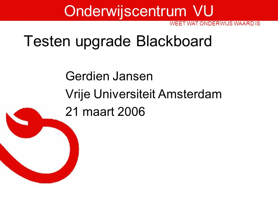 Testen upgrade Blackboard