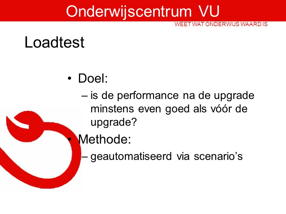 Loadtest Doel: Methode: