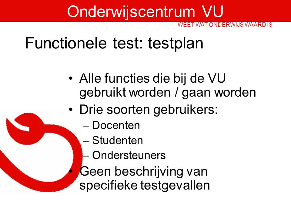 Functionele test: testplan