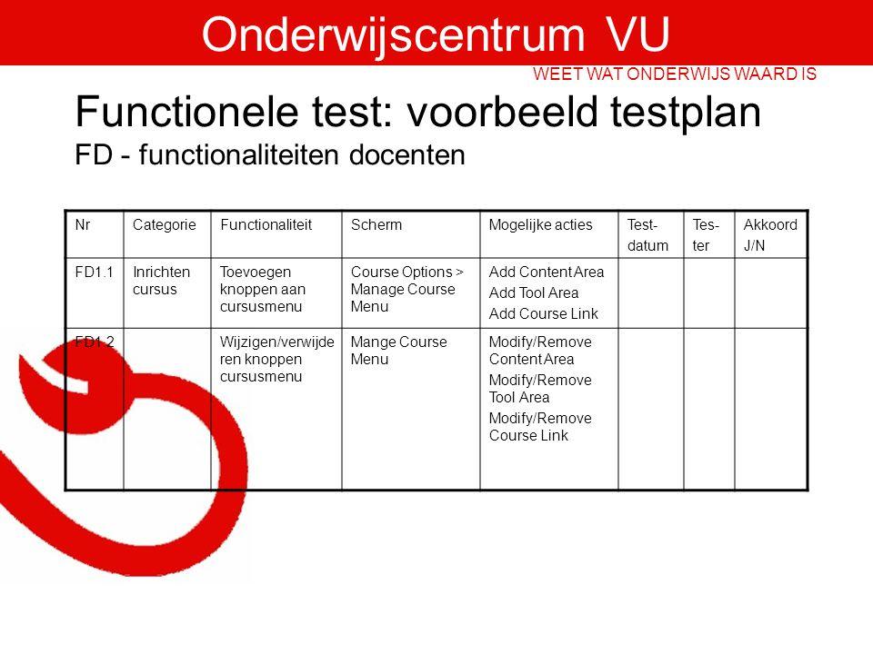Functionele test: voorbeeld testplan FD - functionaliteiten docenten