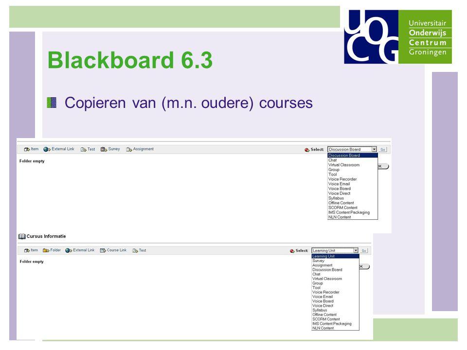 Blackboard 6.3 Copieren van (m.n. oudere) courses