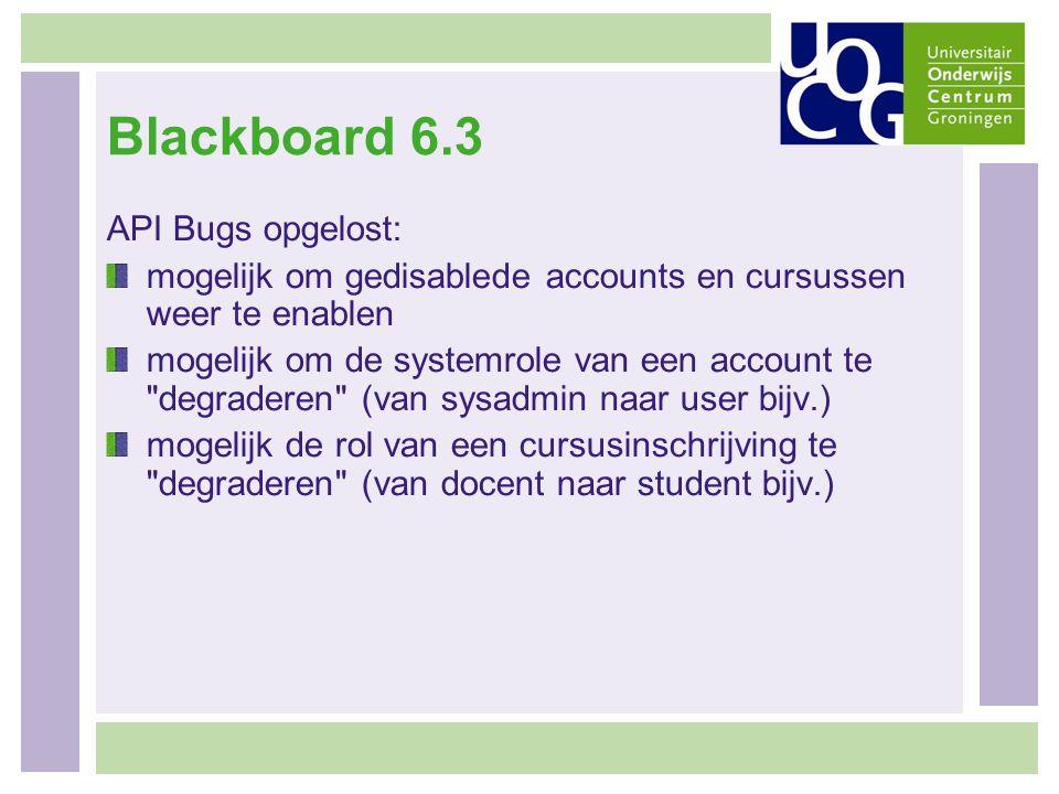 Blackboard 6.3 API Bugs opgelost: