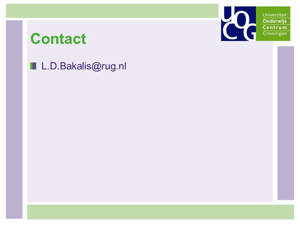 Contact L.D.Bakalis@rug.nl