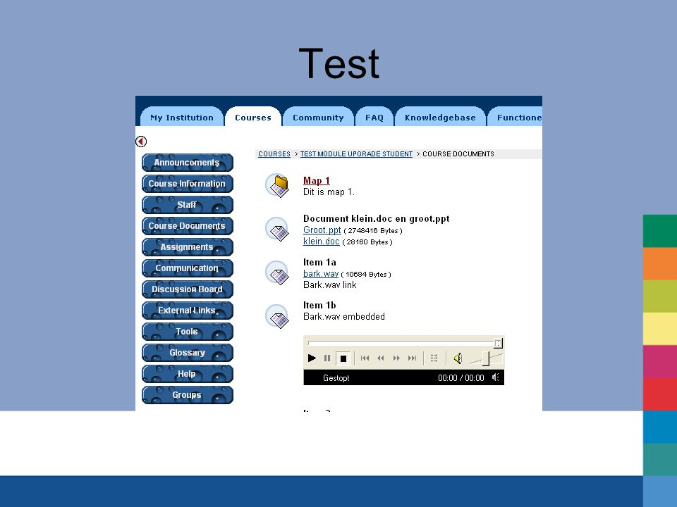 Test Testmateriaal: Testplan Testcourses