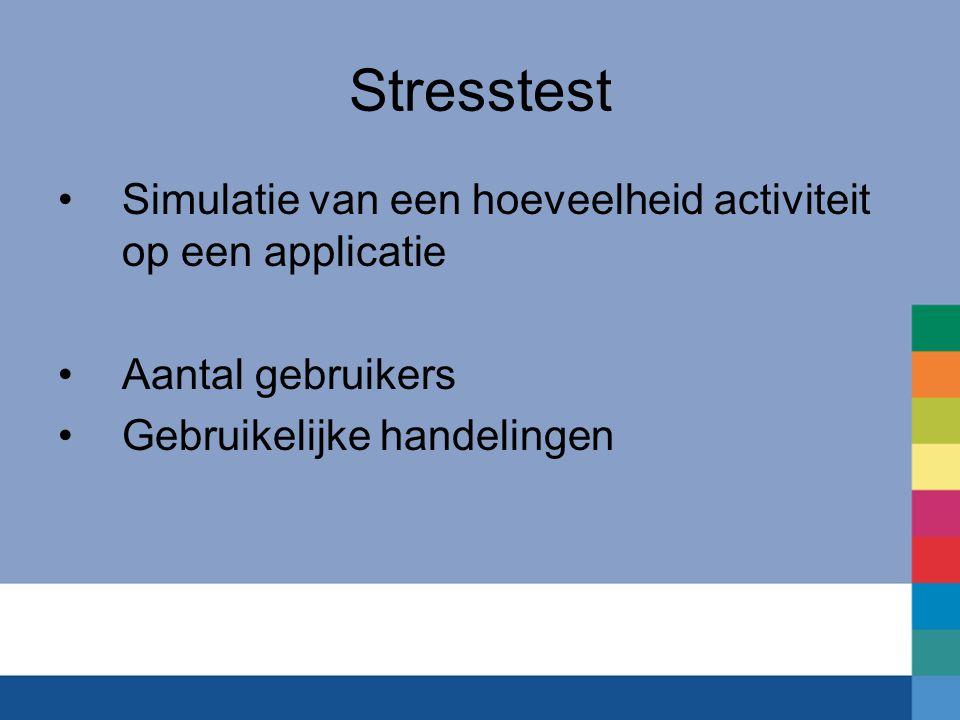 Stresstest Simulatie van een hoeveelheid activiteit op een applicatie