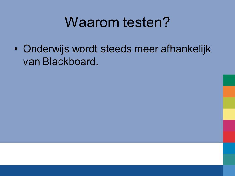 Waarom testen Onderwijs wordt steeds meer afhankelijk van Blackboard.