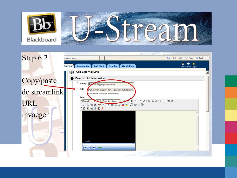 Stap 6.2 Copy/paste de streamlink URL invoegen