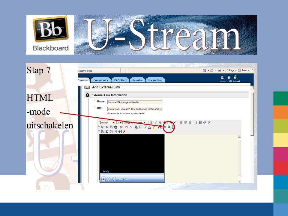 Stap 7 HTML -mode uitschakelen