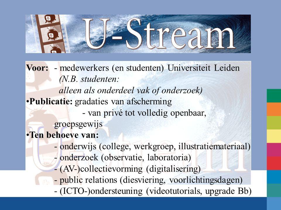 Voor: - medewerkers (en studenten) Universiteit Leiden