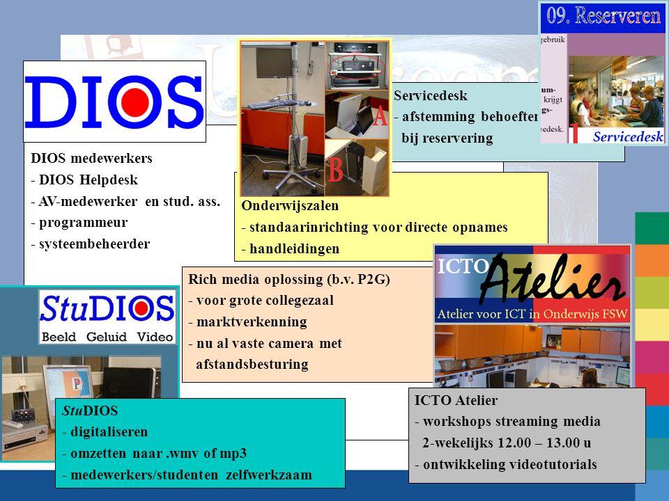 Servicedesk - afstemming behoeften. bij reservering. DIOS medewerkers. - DIOS Helpdesk. - AV-medewerker en stud. ass.