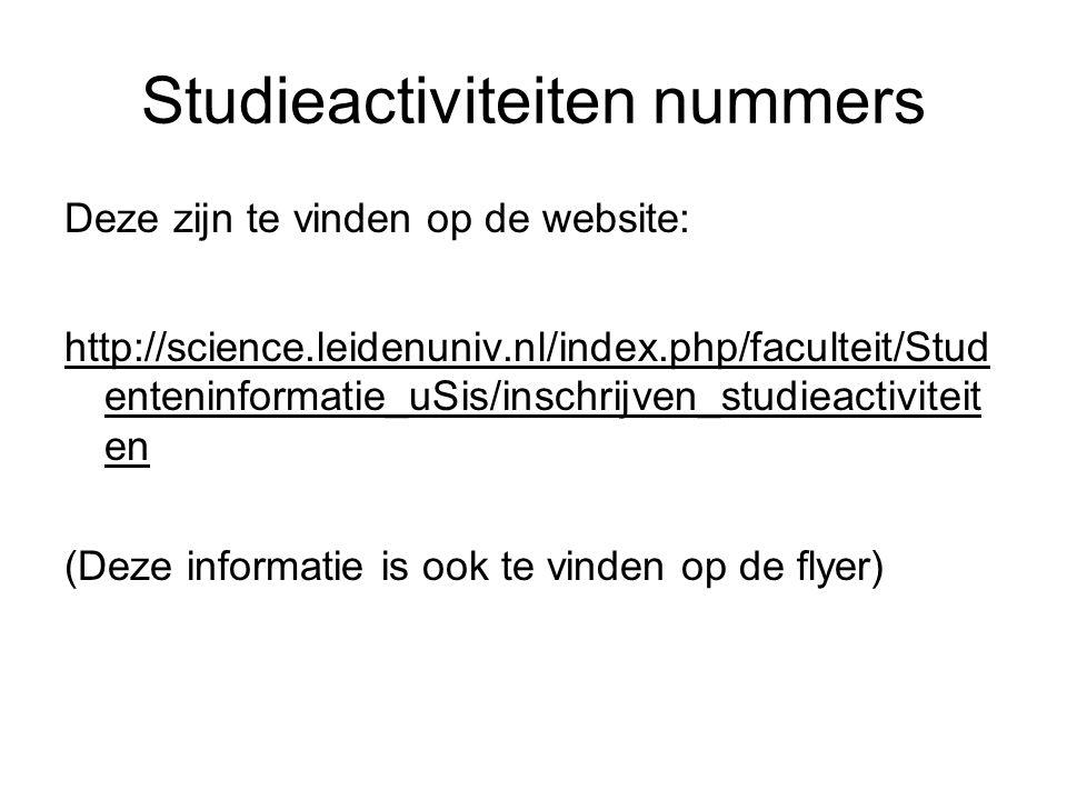Studieactiviteiten nummers