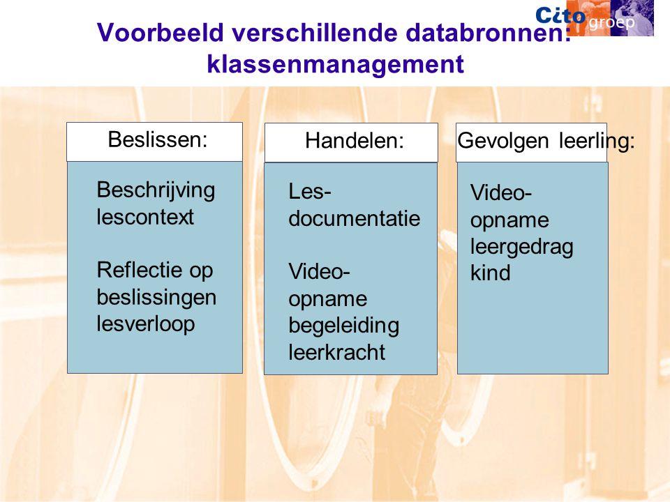 Voorbeeld verschillende databronnen: klassenmanagement