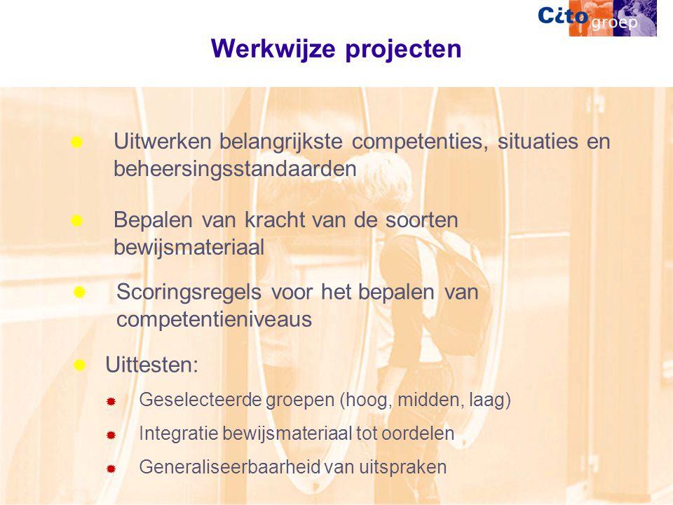 Werkwijze projecten Uitwerken belangrijkste competenties, situaties en beheersingsstandaarden. Bepalen van kracht van de soorten bewijsmateriaal.