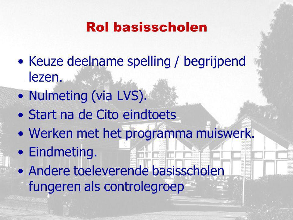 Rol basisscholen Keuze deelname spelling / begrijpend lezen. Nulmeting (via LVS). Start na de Cito eindtoets.