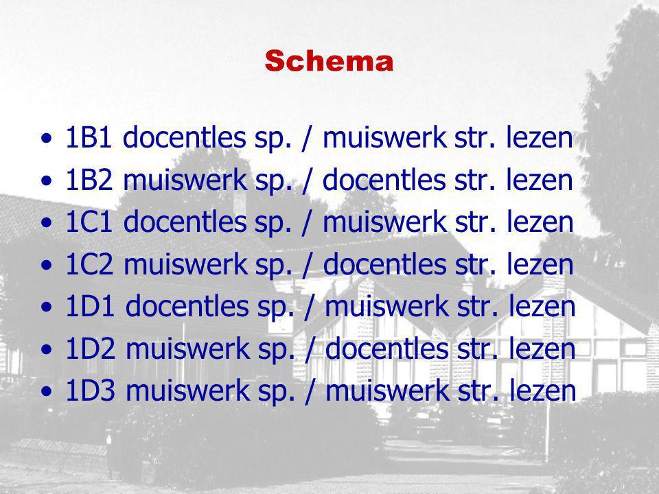 Schema 1B1 docentles sp. / muiswerk str. lezen. 1B2 muiswerk sp. / docentles str. lezen. 1C1 docentles sp. / muiswerk str. lezen.
