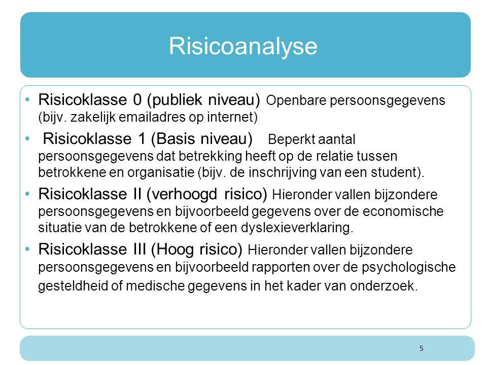Risicoanalyse Risicoklasse 0 (publiek niveau) Openbare persoonsgegevens (bijv. zakelijk emailadres op internet)