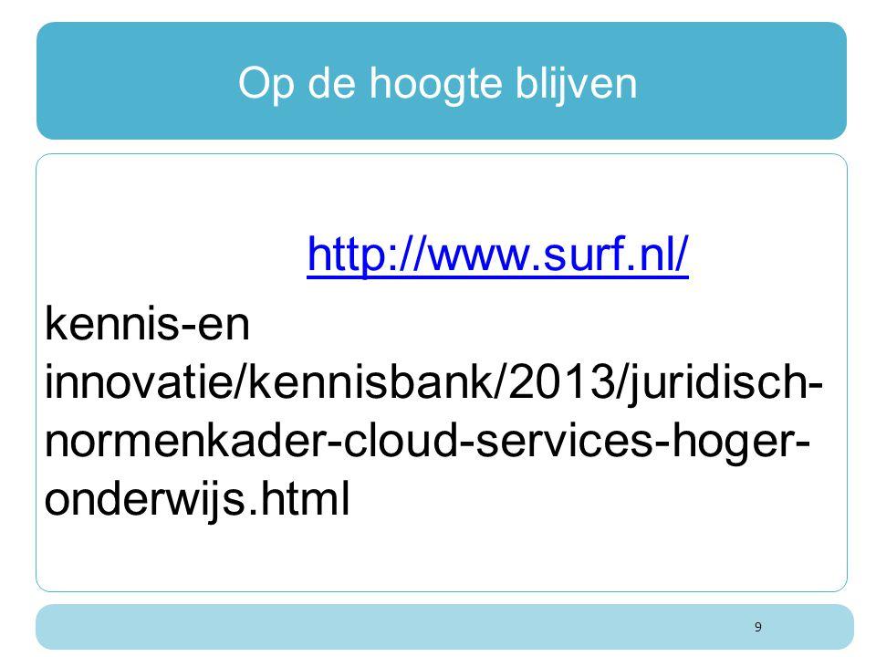 Op de hoogte blijven http://www.surf.nl/ kennis-en innovatie/kennisbank/2013/juridisch- normenkader-cloud-services-hoger- onderwijs.html.